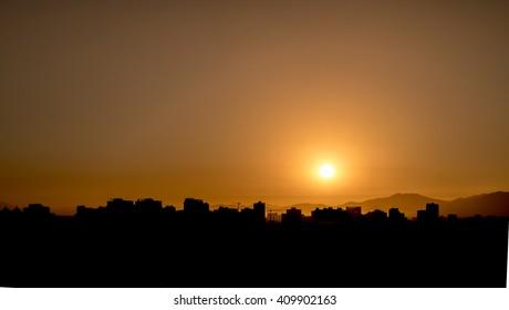 Sunset Skyline in Santiago de Chile