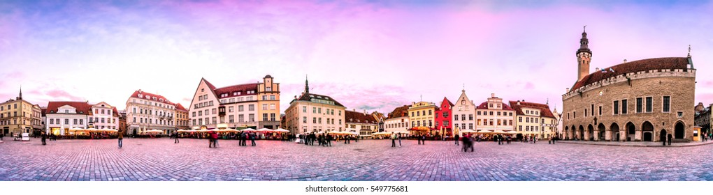 Sunset Skyline of Tallinn Town Hall Square or Old Market Square, Estonia. Panoramic montage from 24 HDR images