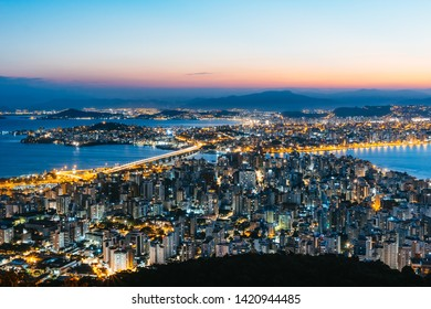 Sunset skyline view of downtown at Florianopolis city in Brazil