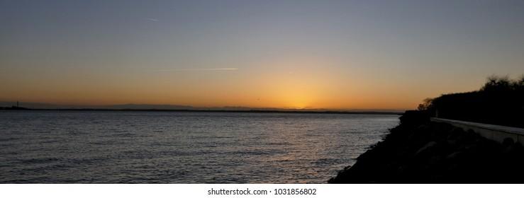Sunset skyline in Yorkshire England