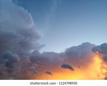 Sunset sky,Orange and blue color.