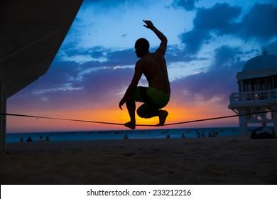Sunset slackline