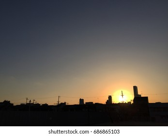 Sunset in small city