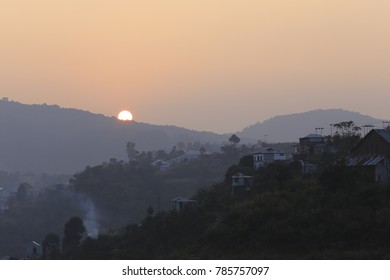 Sunset in small town of Mizoram in North east of india, The small village of Mizoram are mostly located in mountain Valley and offer amazing backdrop for sunrise and sunset.