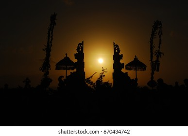 Sunset some temple in Bali Island, Indonesia.