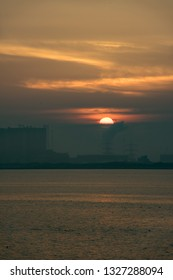 Sunset. South Gare at Redcar. North east of England.