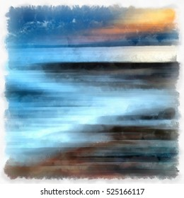 Sunset in the southern sea. Abstract watercolor background. Digital painting