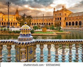 Sunset at Spain Square. Sevilla Andalucia. Spain.