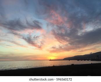 Sunset at the spanish beach
