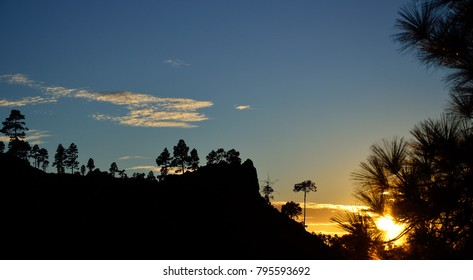 Sunset with splendid blue sky, natural park of Pilancones in Gran canaria, Canary islands
