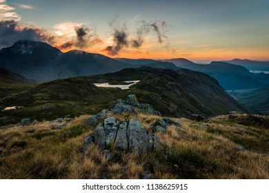 Sunset at Sprinkling Tarn, Borrowdale, Lake District National Park, Cumbria, England, UK 07/14/2018