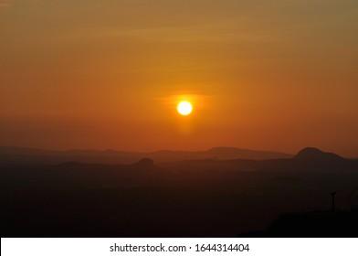 Sunset at sri lanka seen over the horizon
