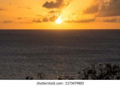 Sunset from St Lucia in the Caribbean Sea