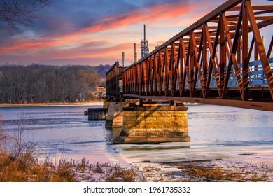 Sunset in St Paul City on Mississippi Minnesota
