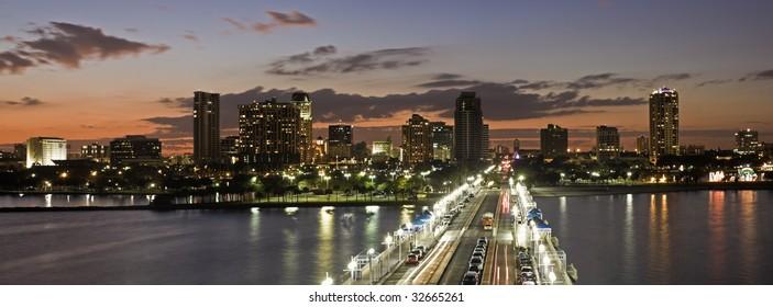 Sunset in St. Petersburg, Florida.