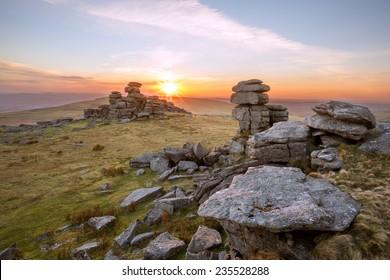 Sunset Staple Tor Dartmoor Devon Uk