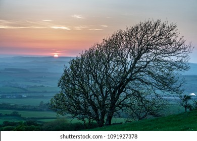 Sunset from Stenbury Down looking over the West of the Isle of  Wight