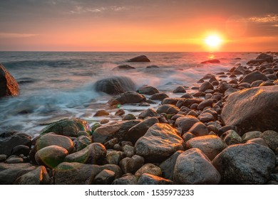 Sunset at a stone beach in Larvik, Norway