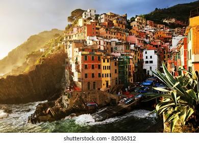 Sunset stormy light in Riomaggiore Village, Cinque Terre, Italy