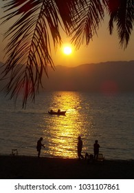 Sunset in Strait Messina from Reggio Calabria in South Italy