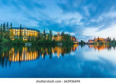 Sunset in Strbske pleso (Strbske lake) in national park High Tatras,Slovakia
