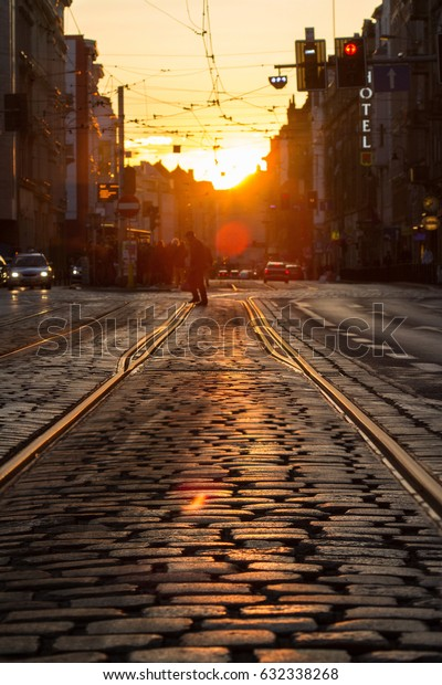 Sunset in the street