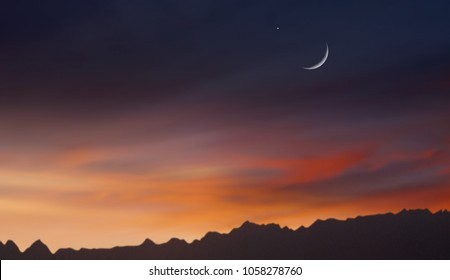 Sunset Strip . Ramadan background . Red sunset and moon .
