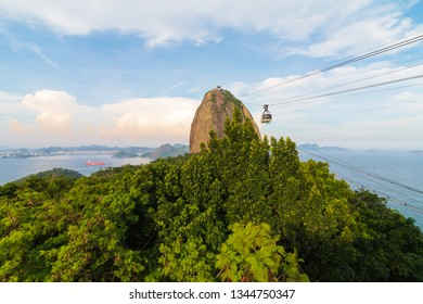 Sunset at Sugarloaf Mountain a peak situated in Rio de Janeiro, Brazil, at the mouth of Guanabara Bay