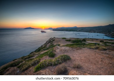 Sunset in Summer over Cape Sounion in Greece