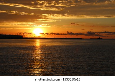 Sunset in the summer sea of Okinawa, Japan