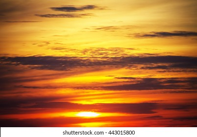 Sunset sun and clouds, sunrise nature background