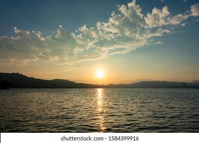 Sunset at Sun Moon Lake