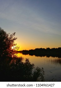 sunset sun river summer evening sky dawn dawning