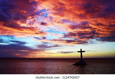 Sunset at Sunken Cemetery Camiguin Island Philippines.
