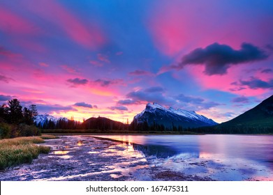 Sunset sunrise above Vermilion Lakes, Banff National Park, Canada