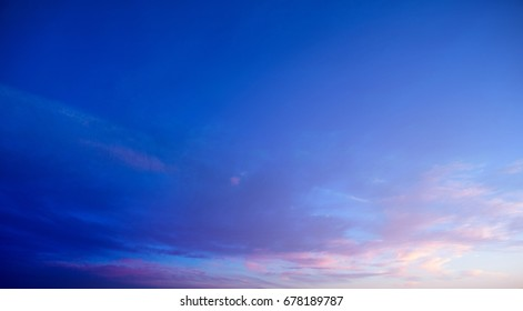 Sunset and sunrise blue and purple color sky background. Nature background.