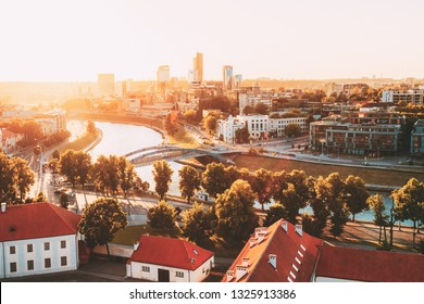 Sunset Sunrise Cityscape Of Vilnius, Lithuania In Summer. Beautiful Panoramic View In Evening. View From The Hill Of Upper Castle