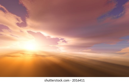 Sunset / sunrise with clouds, light rays and other atmospheric effects. Very high resolution.