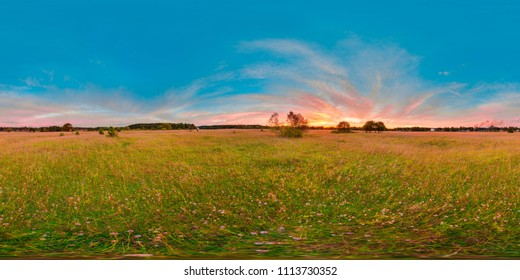 Sunset or sunrise in the green field with blue sky with pink color. 3D spherical panorama with 360 viewing angle. Ready for virtual reality or VR. Full equirectangular projection. Green grass.