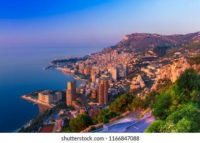 sunset or sunrise in Monte Carlo city, Monaco