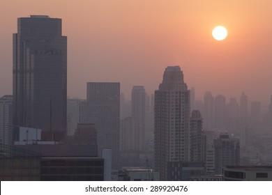 Sunset sunrise on city