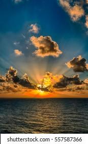 Sunset or Sunrise, orange with Rays