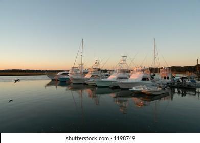 Sunset or sunrise over marina
