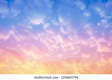 Sunset and Sunrise sky with clounds colorful, Soft blurry background,. - Image