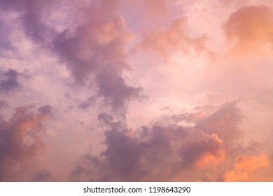 Sunset and Sunrise sky with clounds colors, Soft blurry background, Of free space for your copy and branding.