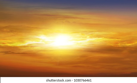 Sunset and sunrise in the sky . Colorful Clouds With Lens Flare . Beautiful heavenly landscape with the sun in the clouds .