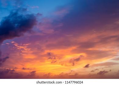 sunset and sunrise sky. orange sunset sky. Beautiful sky.