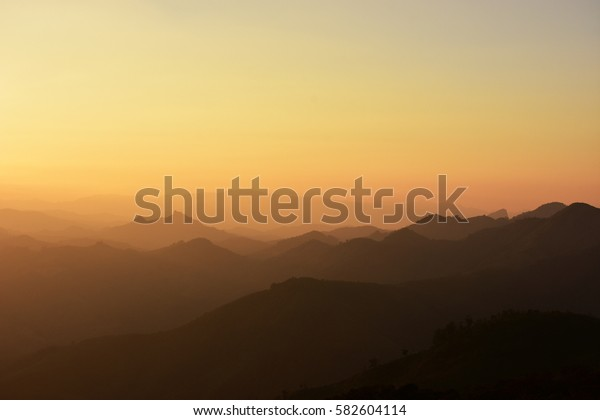 Sunset and Sunrise, Valley lonely and sad moments in Laos.