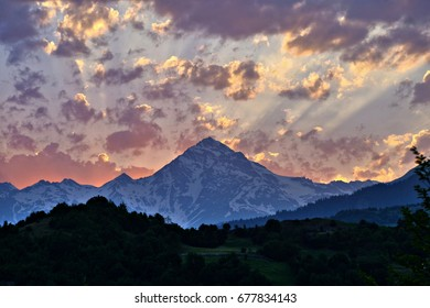 Sunset in Svaneti mountains