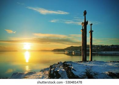 Sunset at Sverd i fjell (Swords in the rock), Stavanger